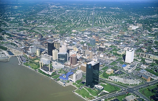 Toledo (OH) United States  city pictures gallery : Aerial photo of Downtown Toledo, Lake Erie, Ohio, OH United States