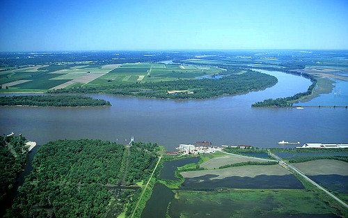 Airphoto Aerial Photograph of Mississippi Missouri Confluence Wood River
