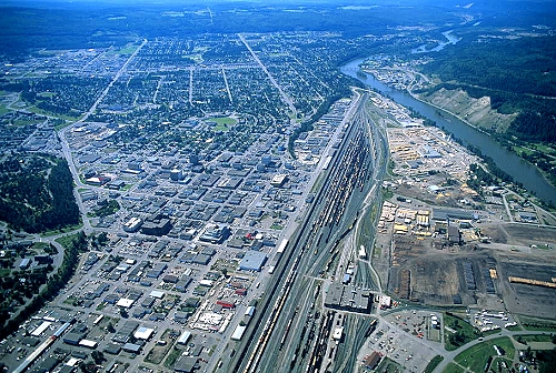 Prince George Canada >> Aerial Photo Of Downtown Prince George British Columbia Bc Canada