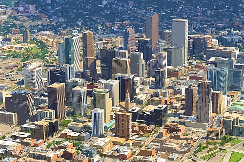 airphoto aerial picture of downtown denver city and